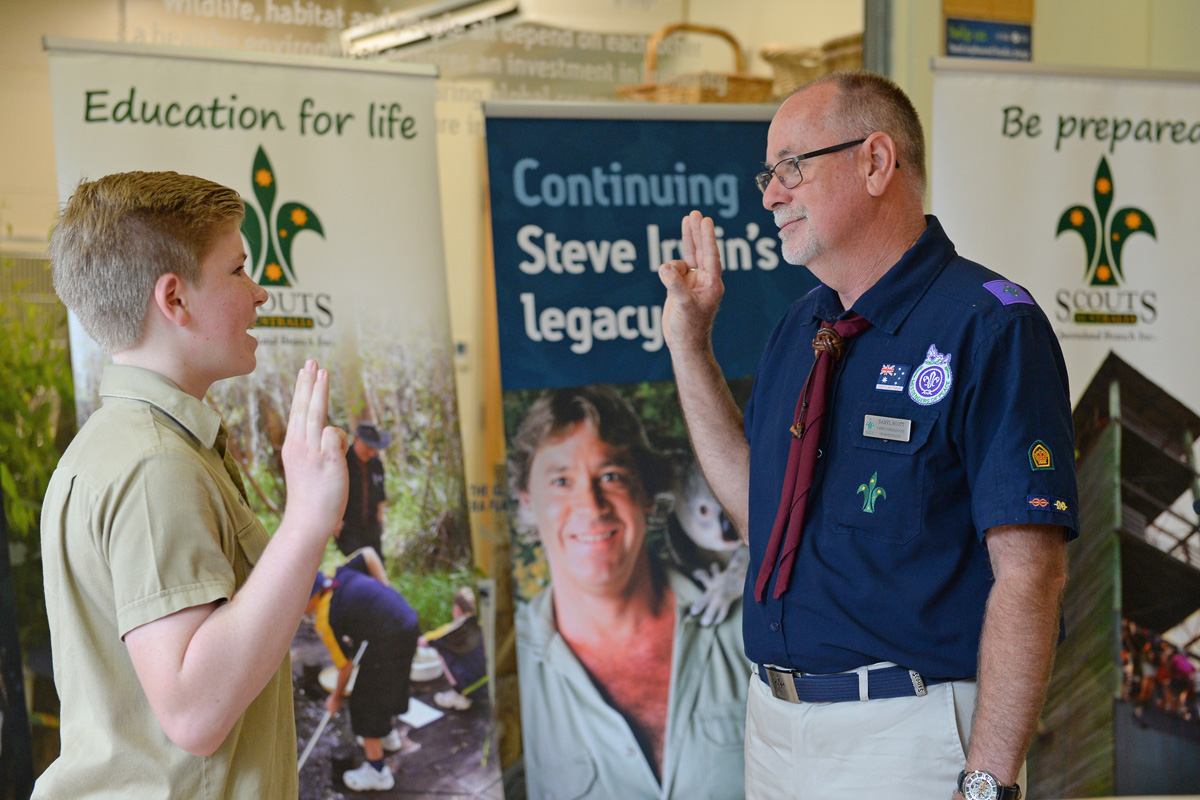 Robert Irwin invested by Scouts Queensland
